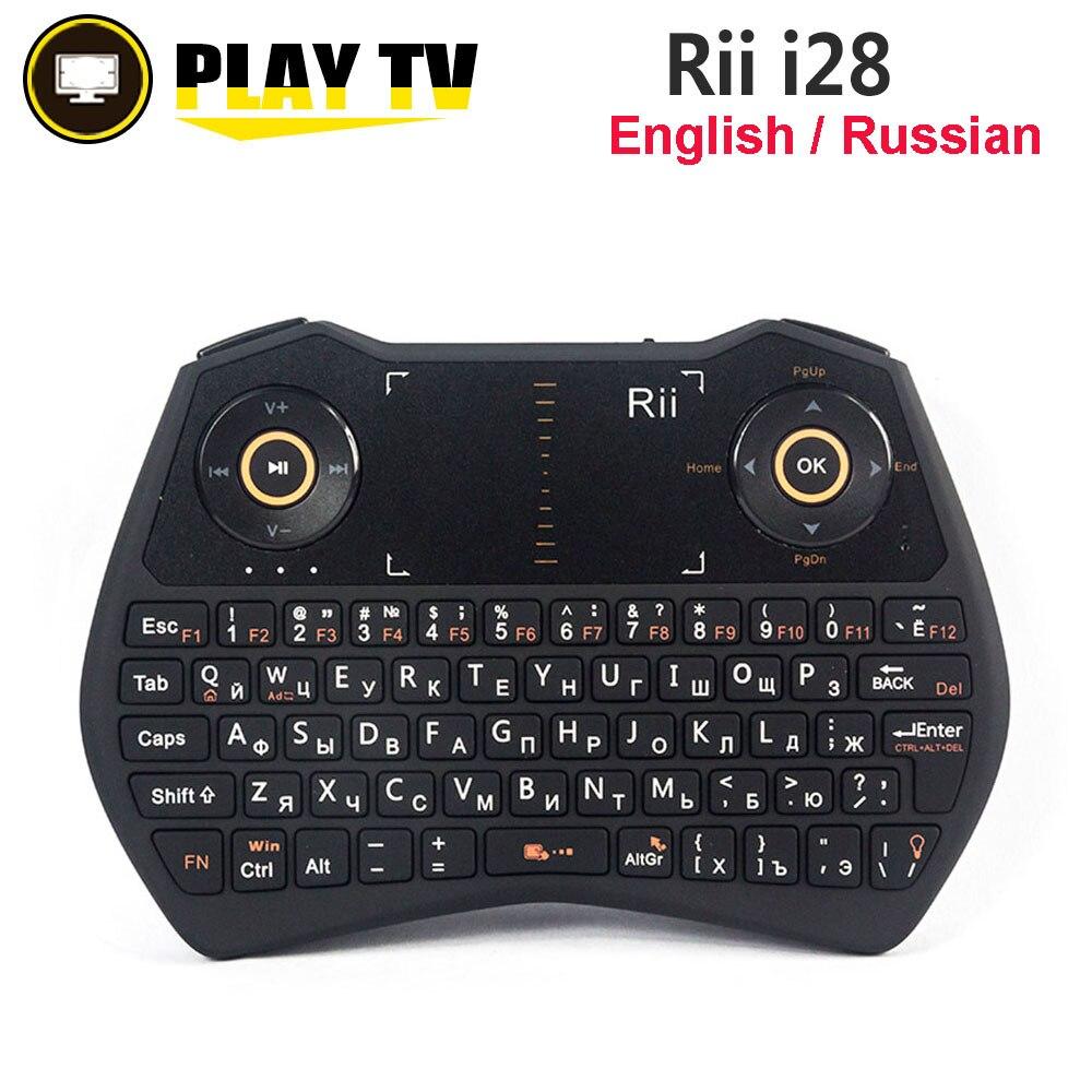 Original i28 Rii 2.4G Mini Teclado Sem Fio Russo Inglês Versão Backlight Air Mouse Touchpad para Android TV BOX Mini PC