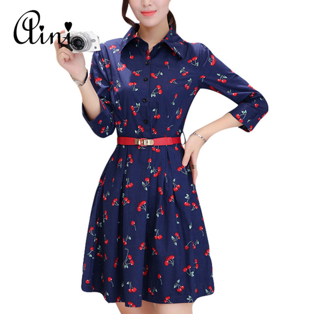 d4362b7bab5 2017 New Women Dress Lips Cherry Print Three Quarter Sleeve Turn-down  Collar Casual Ladies Shirt Dress Vestidos Plus Size S-2XL