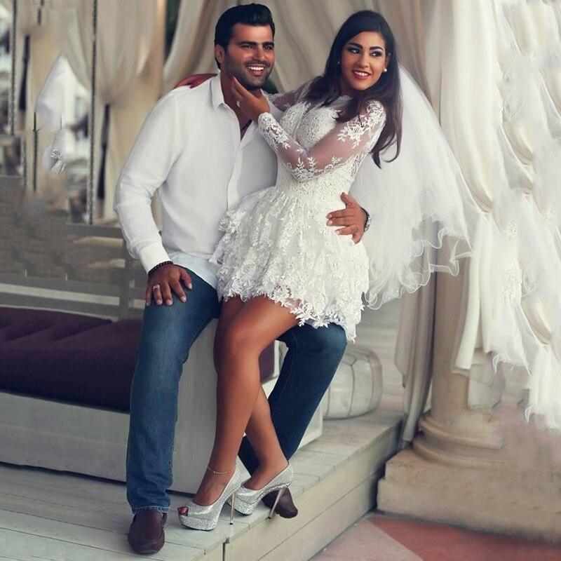 JIERUIZE White Tiered lace short Wedding Dresses long sleeves keyhole back short beach Bride Dresses robe de mariee