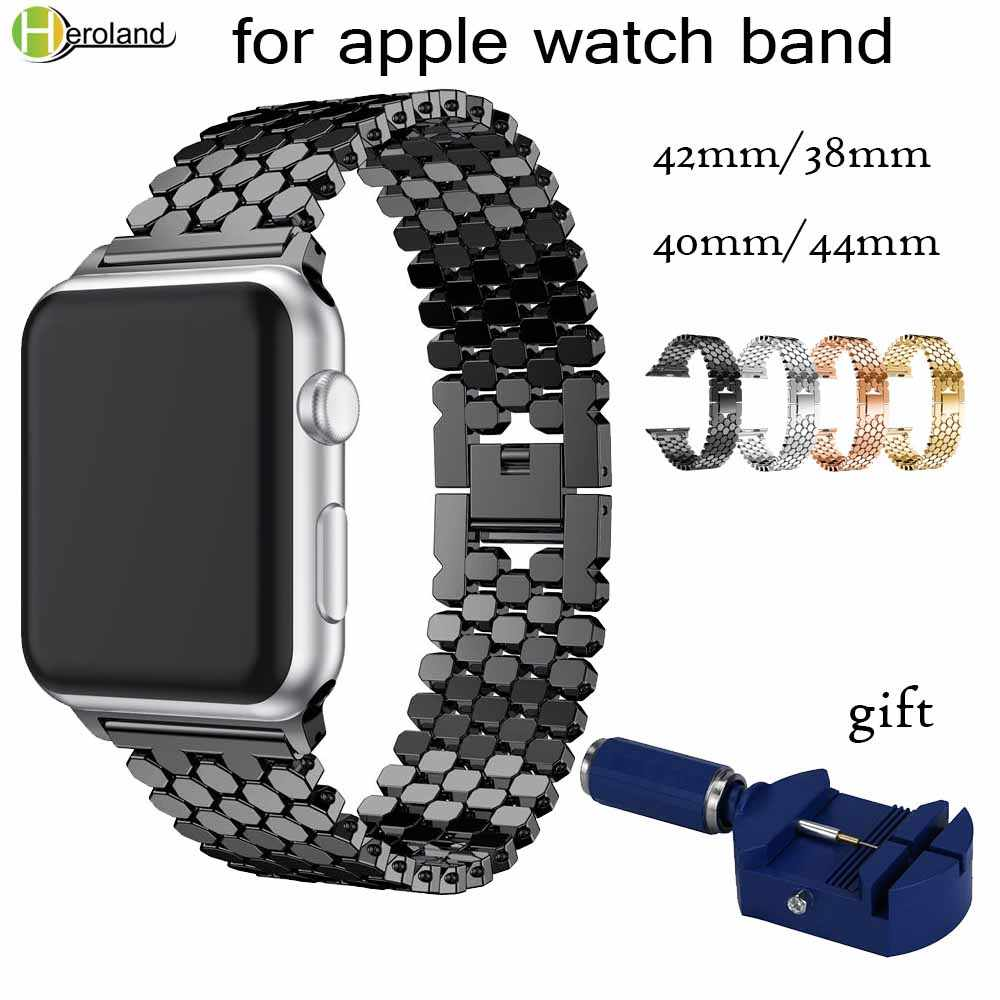 "קישור נירוסטה רצועת עבור apple watch להקת 42 מ""מ/38 מ""מ/40 מ""מ/44 מ""מ צמיד שעון להקת עבור iwatch להקות סדרת 4 3 2 1 רצועה"