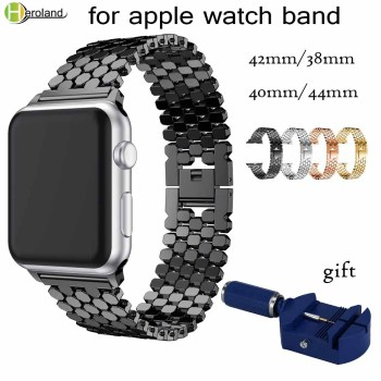 link Stainless Steel Strap for apple watch band 42mm/38mm/40mm/44mm bracelet watch band for iwatch bands series 4 3 2 1 strap stainless steel band for apple watch series 3 2 classic buckle with adapter link bracelet watchband strap for iwatch 42mm 38m