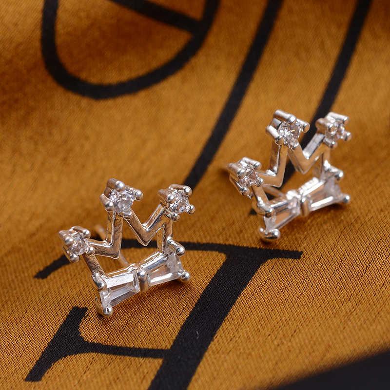SUKI Мода Bijoux серьги-гвоздики в форме короны серьги для женщин Золото Серебро Цвет кубического циркония Серьги Геометрические праздничные ювелирные изделия Новинка