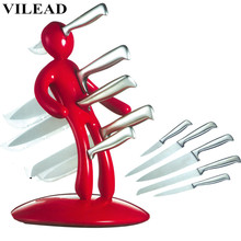 VILEAD Novelty Kitchen Gifts Creative Humanoid Stainless Steel Magnet Knife Holder Blocks Roll Rack Shelf Stand with Free Knives new strong suction stainless steel magnet holder kitchen knife tableware wall mounted shelf rare earth magnet with 3m sticker