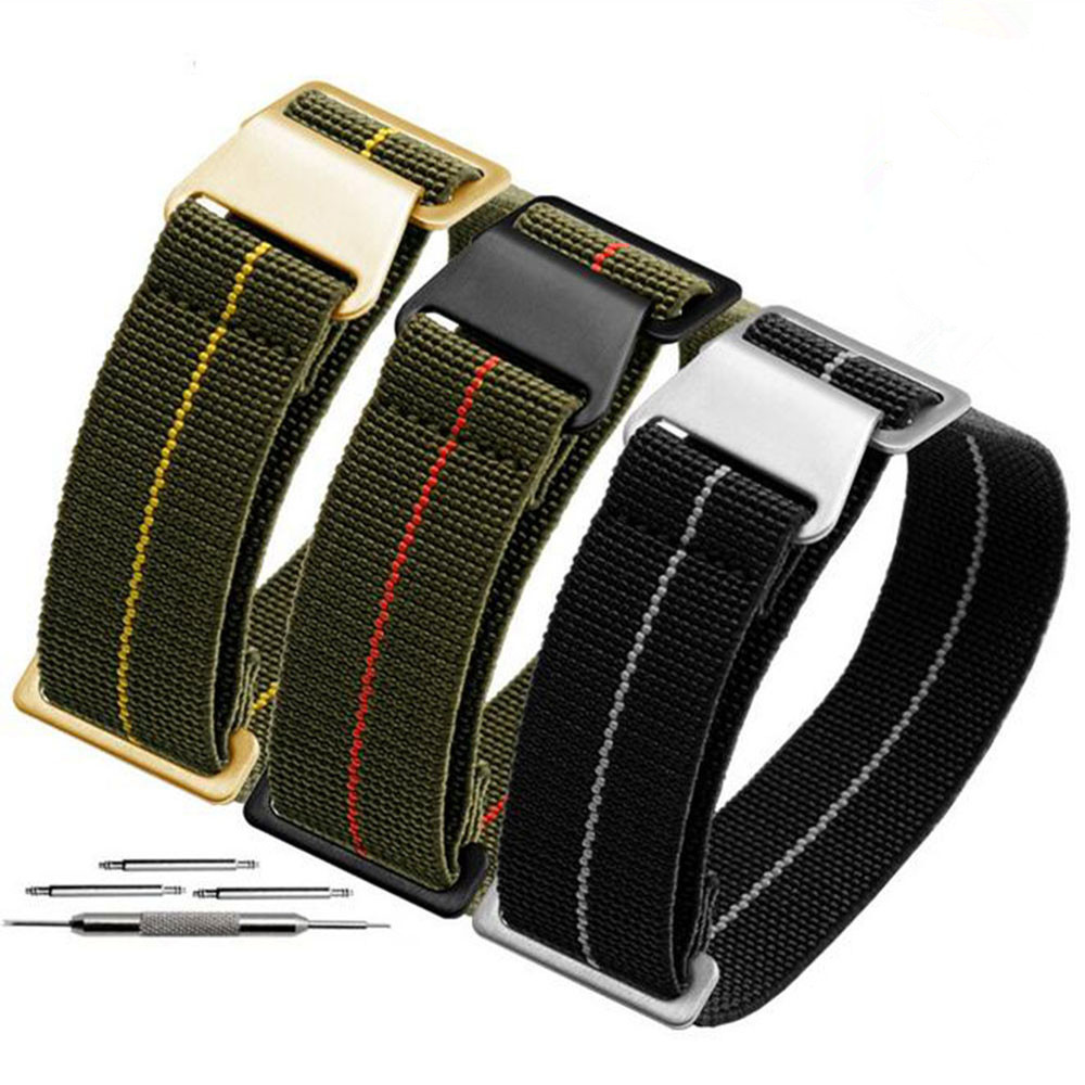 20 21 22 mm French Troops Parachute Bag For NATO Elastic Nylon Belt General Brands Wacthband Watch Strap Band Military Bracelet(China)
