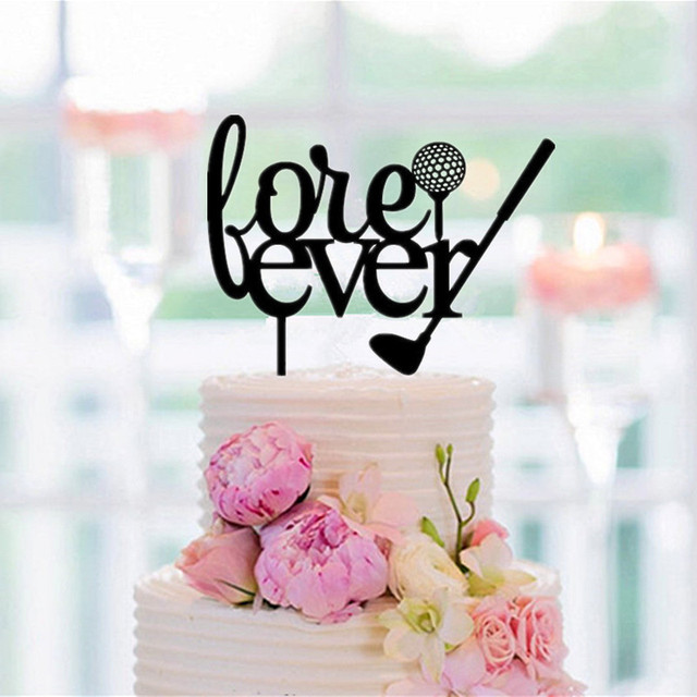Golf Wedding Cake Topper Fore Ever Letter Silhouette Toppers Rustic Decoartoin Accessory Free
