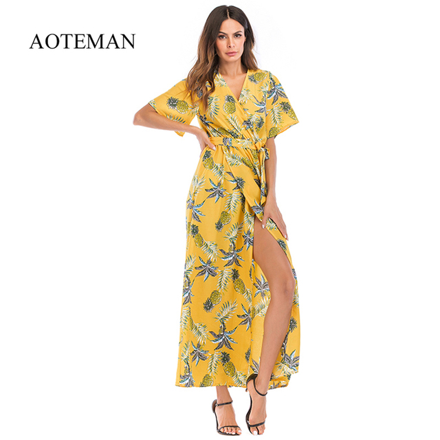 AOTEMAN Print Floral Summer Dress Women New Casual Sexy Deep V High Fork Long Dress Female Elegant Bohemian Beach Party Dresses