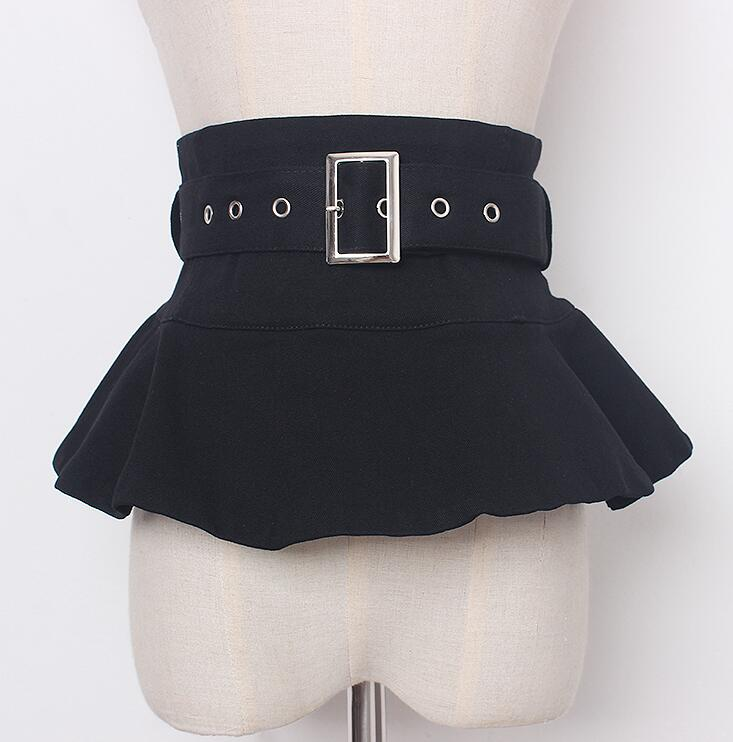 Women's Runway Fashion Black Fabric Cummerbunds Female Dress Corsets Waistband Belts Decoration Wide Belt R1681