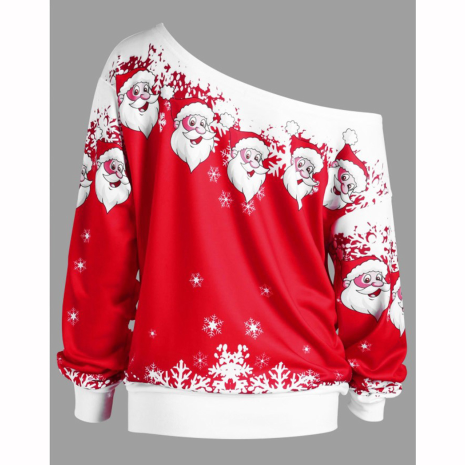 Christmas Sweatshirt Off Shoulder Top Clothing Womens 2019 New Year Dress Print Santa Cute Funny Autumn Winter Women Pullover (3)