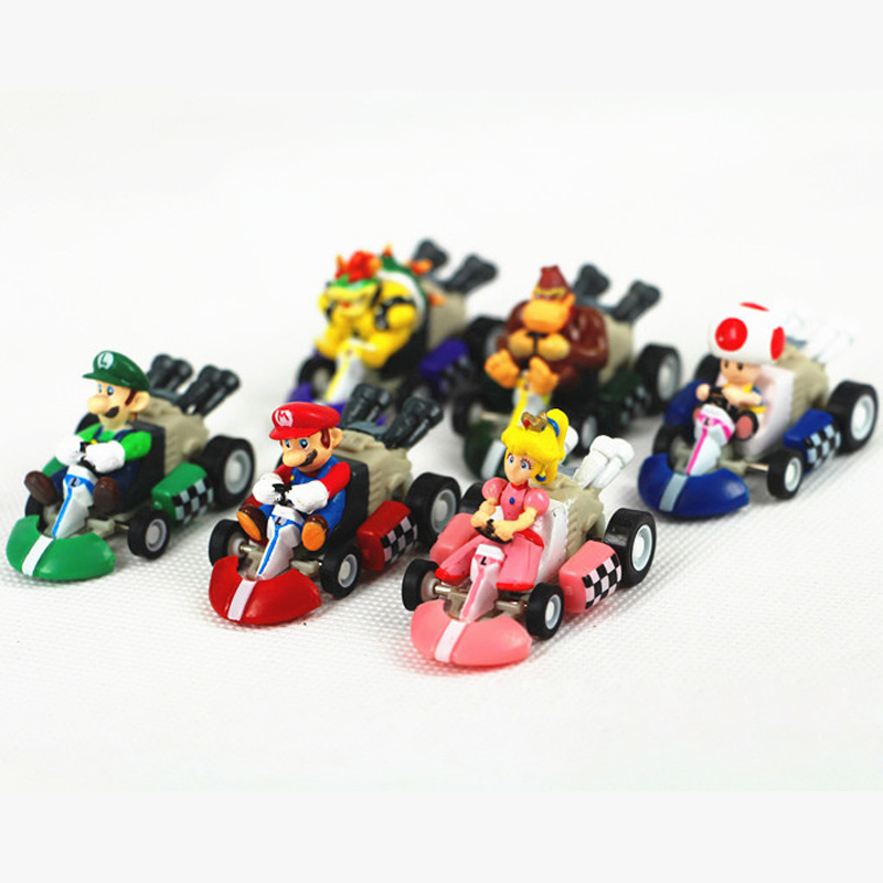 Super Mario Bros Mario Luigi Pricess 12cm Pull Back Racer Kart Car Kids Toy Gift