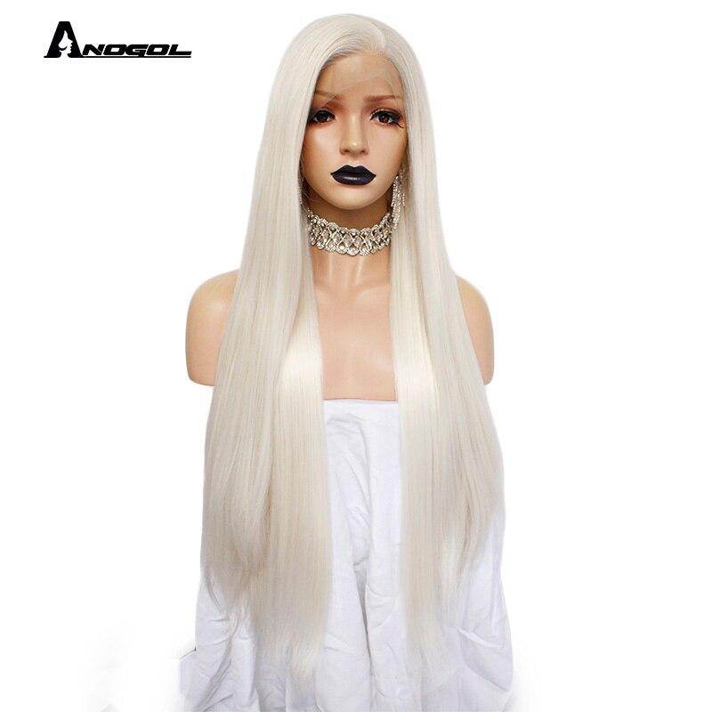 Image 4 - Anogol платиновый блонд натуральные парики 613 длинные шелковистые прямые 180% Плотность синтетические парики на кружеве для белых женщин-in Синтетические парики без сеточки from Пряди и парики для волос on AliExpress