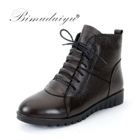 BIMUDUIYU Genuine Leather Winter Women Shoes Fashion Lace Up Flat Ankle Boots Female Snow Boots Plus