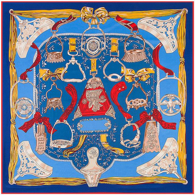 Sarga De Seda nueva Bufanda de Las Mujeres 130*130 cm Silla de Diseño Euro espuelas de Impresión Moda Grandes pañuelos de Seda Bufandas Cuadradas de Regalo de Alta Calidad chales