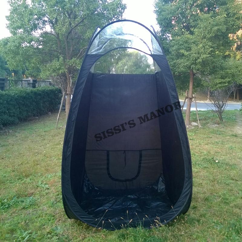 Czarny kolor Natryskowy namiot do opalania z plastikowym oknem i blatem najwyższej jakości, popularny na rynku europejskim i amerykańskim