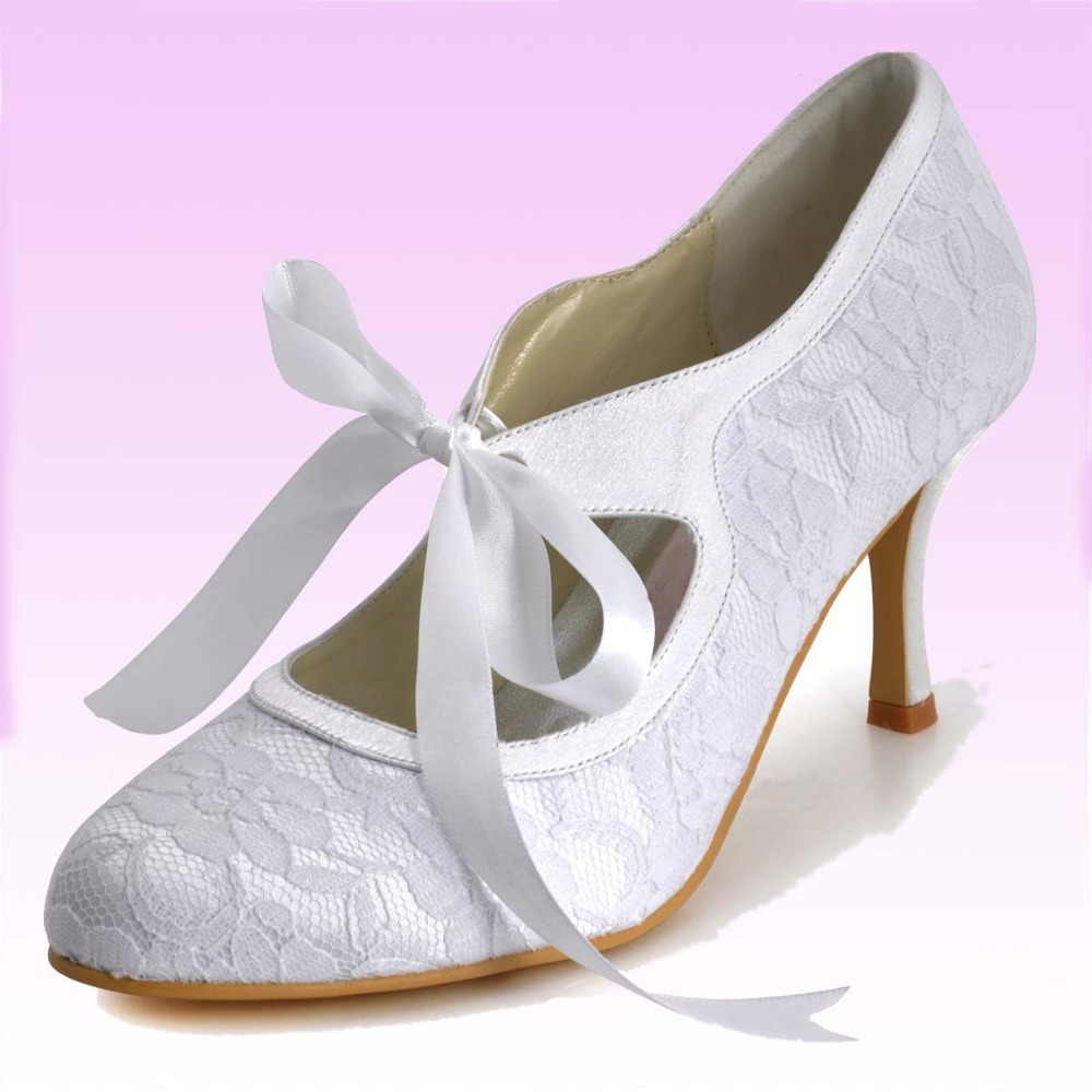 3 Inch Marry Janes Lace Wedding Bridal High Heel Shoes