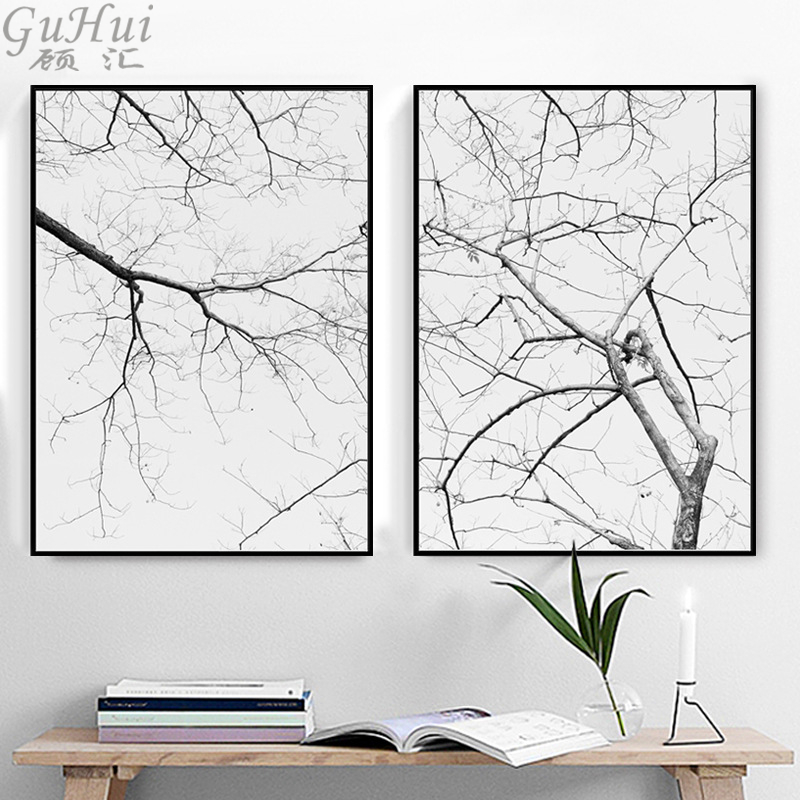 Minimalist Black and White Late Autumn Tree Branches Canvas Painting Scandinavian Living Room Decorative Landscape Art Poster