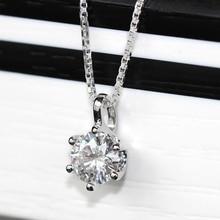 TransGems 0.5 ct Carat Lab Grown Moissanite Diamond Solitaire Slide Pendant 18K White Gold Pendant for Women