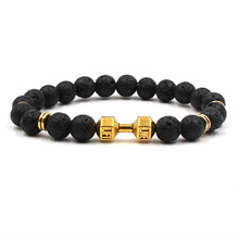 2019 nowy modny czarny matowy bransoletka z koralików dla człowieka Fitness Fit życie modlitwa hantle złota bransoletka sztanga motywacja siłownia biżuteria
