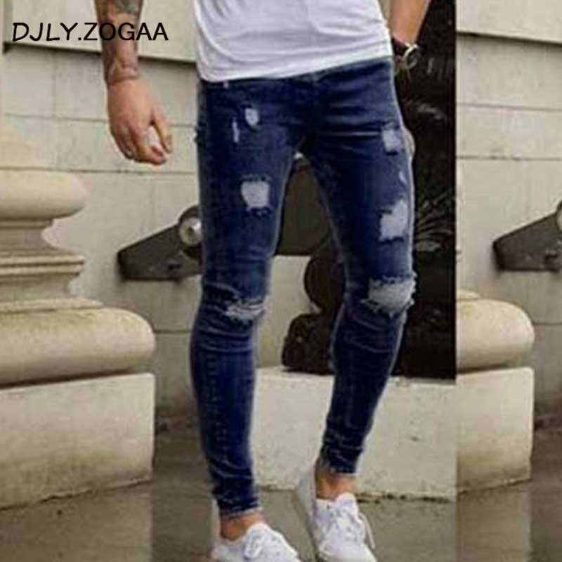 New Fall Men Cultivating Stretch Jeans Hole Pants Trousers Korean Male Models Teen Tight Little Conventional Straight-leg Pants