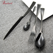 24 Pcs/lot Black Cutlery Set Top Quality Stainless Steel Dinner Knife Fork Tablespoon Dinnerware Set 24 for 6 person Dinnerware