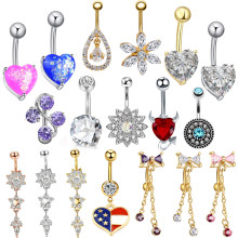 1PC Surgical Steel Piercings Ombligo Boho 14G Navel Piercings Belly Button Piercing Dangle Earrings Belly Bar Sexy Body Jewelry(China)