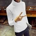 Blusas de Inverno dos homens de Espessura de Veludo Quente Pulôveres de Gola Alta Camisola Homens Suéter de Lã 2016 Da Marca de Moda Roupas Casuais Sólida