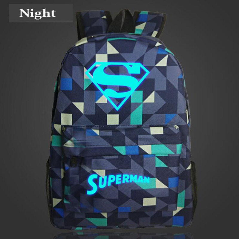 Superman Fashion Noctilucent Men's Backpack Anime Luminous Teenagers Men Women's Student Cartoon School Bags Casual Backpack