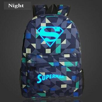 Супермен Модные Серебристые мужской рюкзак аниме световой подростков Мужская и женская студент мультфильм школьные сумки casual рюкзак