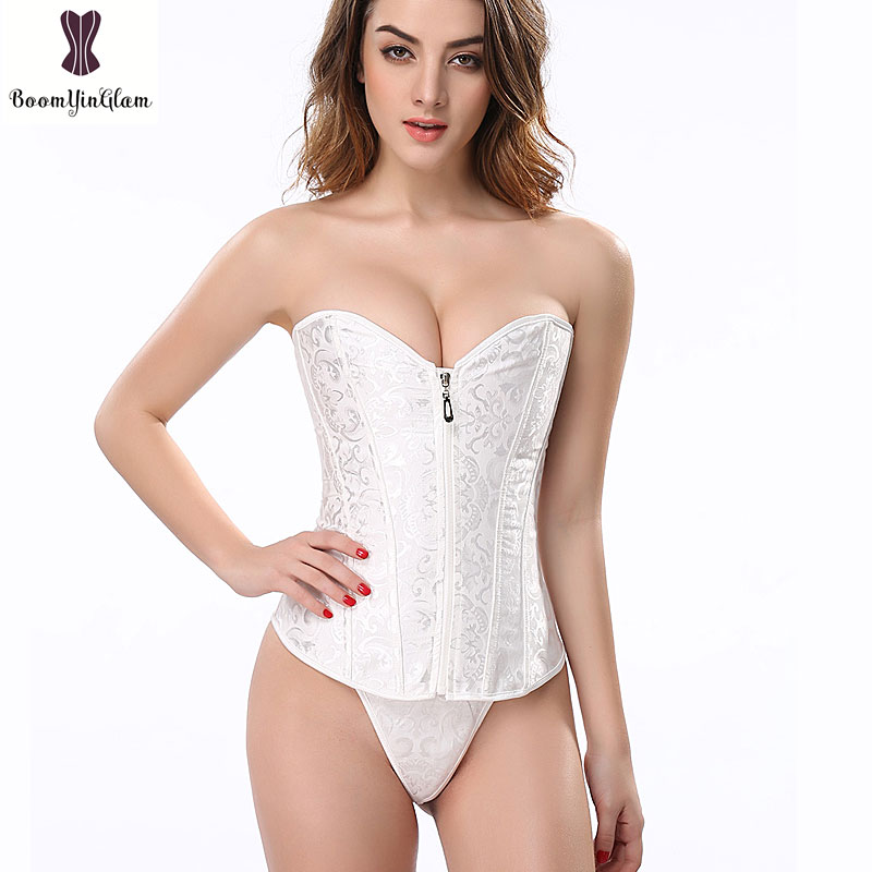 Wedding Waist Trainer Simple Elegant Bridal   Corset   Top Waist Slimming White Corselet Zipper   Bustier   Bridesmaid Floral Korset Hot