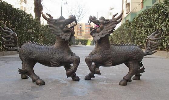 bi002057 Huge China bronze Evil Door Foo Dogs Dragon kylin Lions Feng shui statue pair statue horse statue animal statue of liberty ornament - title=