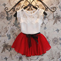 2017 Nova Moda Verão Cor Sólida Sem Mangas Camisa + Saia das Crianças Roupas de Algodão Do Bebê Do Sexo Feminino T-shirt Saia de Chiffon Terno