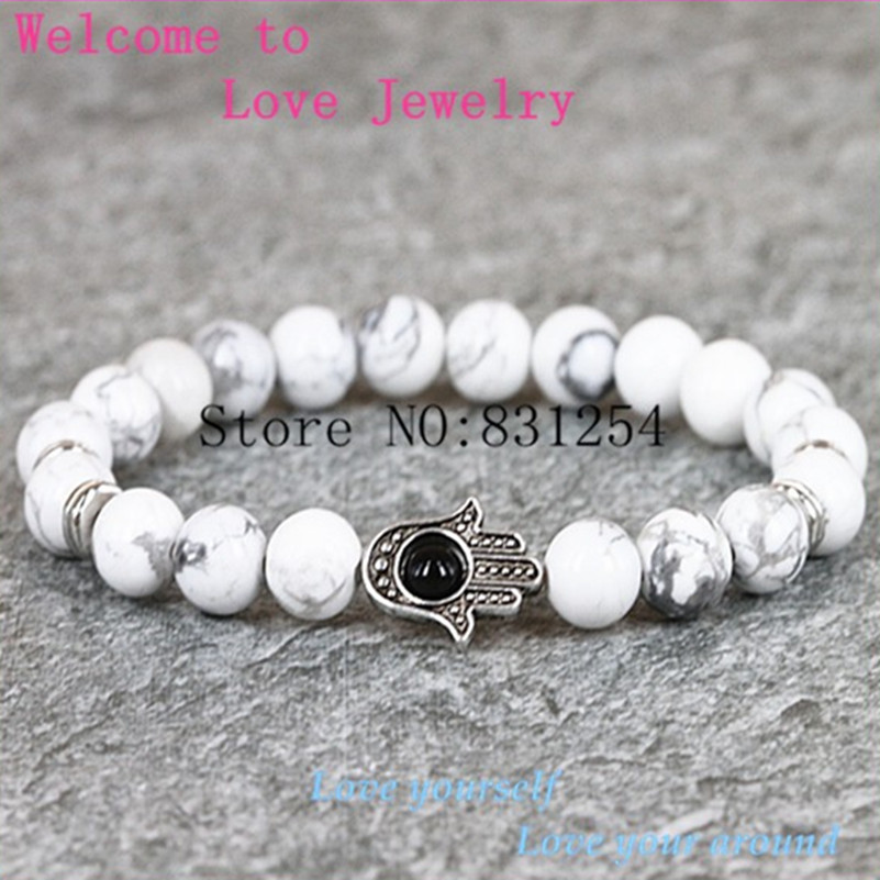 1pc Natural Charm White Statement Stone Bracelet 8mm Beads Hamsa Yoga Mala Bracelet With High Quality Lsd-1096 Sale Price