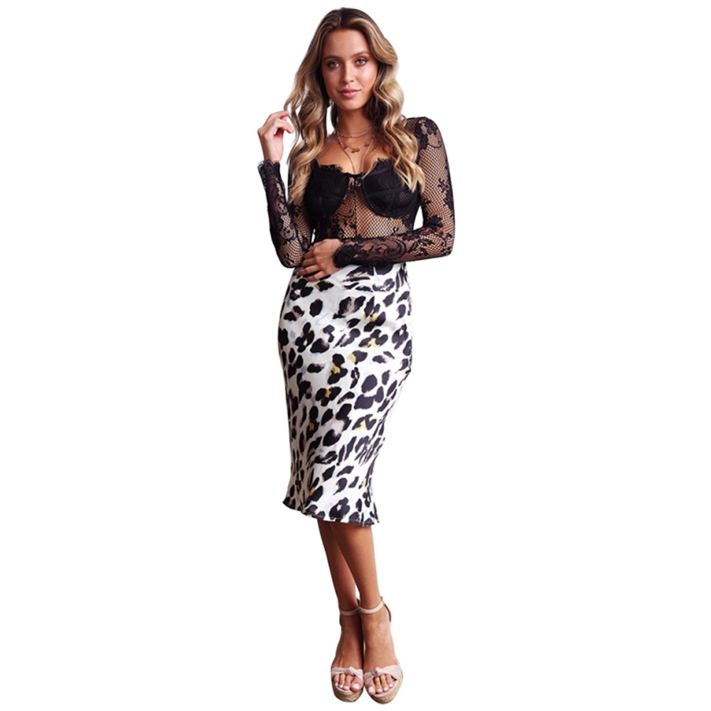 Sexy Leopard Women Skirt High Wiast Night Club Wear Female Bud Mid-Calf Skirt