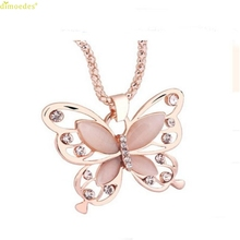 HOT Brand Fashion Womens Lady Rose Gold Opal Butterfly Pendant Necklace Sweater Chain Hot