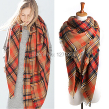 WJ62 New 2014 Winter Women Tartan Scarf Poncho Scarves Shawl Men Imitation Cashmere Orange Red Plaid