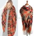 Wj62 зима женщины шотландка шарф пончо шарфы шаль мужчины имитация кашемир оранжевый - красный шотландка одеяло квадрат шарф