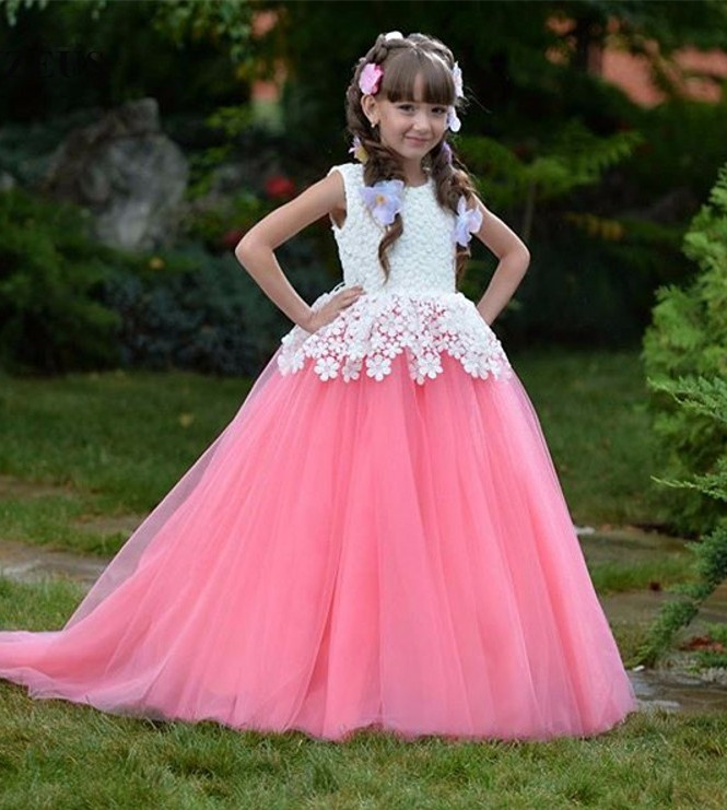New Pink 2018 Customized Flower Girl Dress Ball Gown Lace Child Dress For Wedding Girls Pageant Gown Free Shipping free shipping new red hot chinese style costume baby kid child girl cheongsam dress qipao ball gown princess girl veil dress