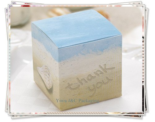 Free Shipping 100pcs 5x5cm Beach Wedding Favor Boxes Candy Box