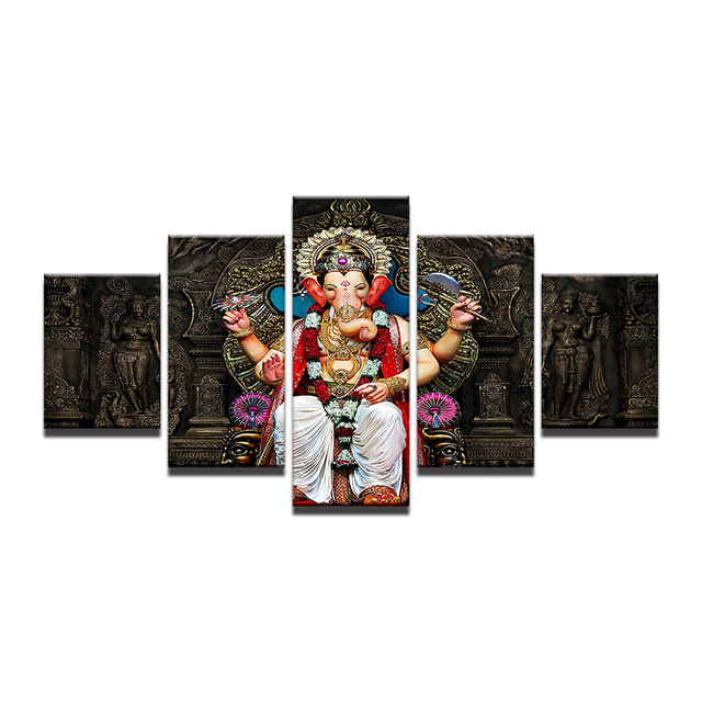 Oil Canvas Painting Picture Wall Art Home Decoration For Living Room Modern Print 5 Panel Tibetan Buddhism Ganesha Poster PENGDA