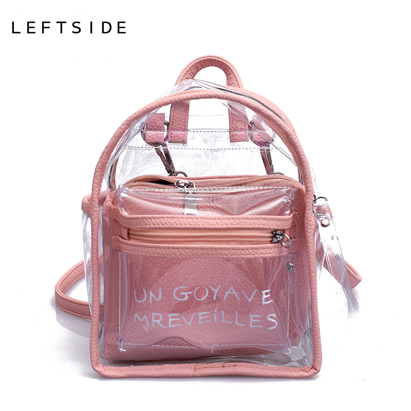 04be4d4f9259 LEFTSIDE Women Transparent Jelly Small Backpacks Girls Mini Clear Backpack  2018 Summer New Fashion Letter Back Pack Drop Ship
