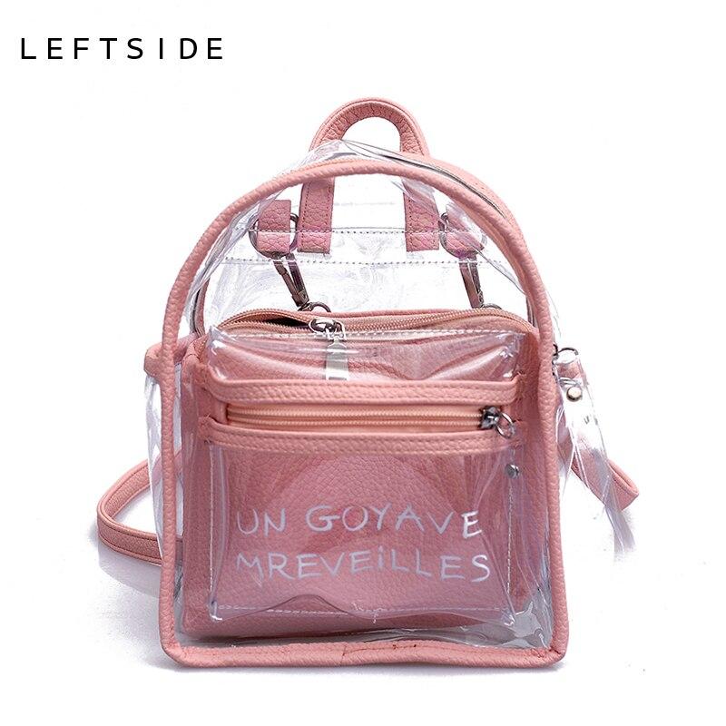 06829ebe18f34 LEFTSIDE النساء شفافة هلام حقائب صغيرة الفتيات البسيطة واضح على ظهره 2018  الصيف جديد الأزياء إلكتروني