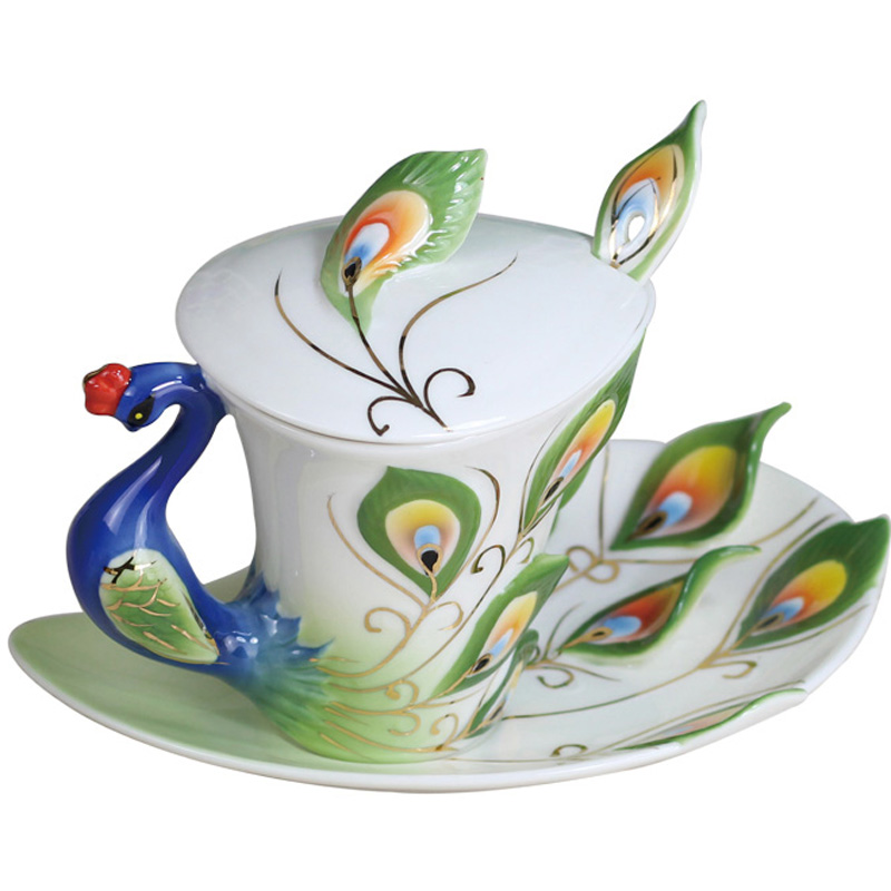 Newest 3D Bone China Peacock Coffee Mug with Saucer Tea cup ceramic cup with Spoon Lid water bottles Breakfast Milk cups Gift