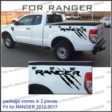 free shipping 2PC paw power including right and left for Ford Ranger 2012 2013 2014 2015 2016 2017 Vertical Bed Stripe Kit