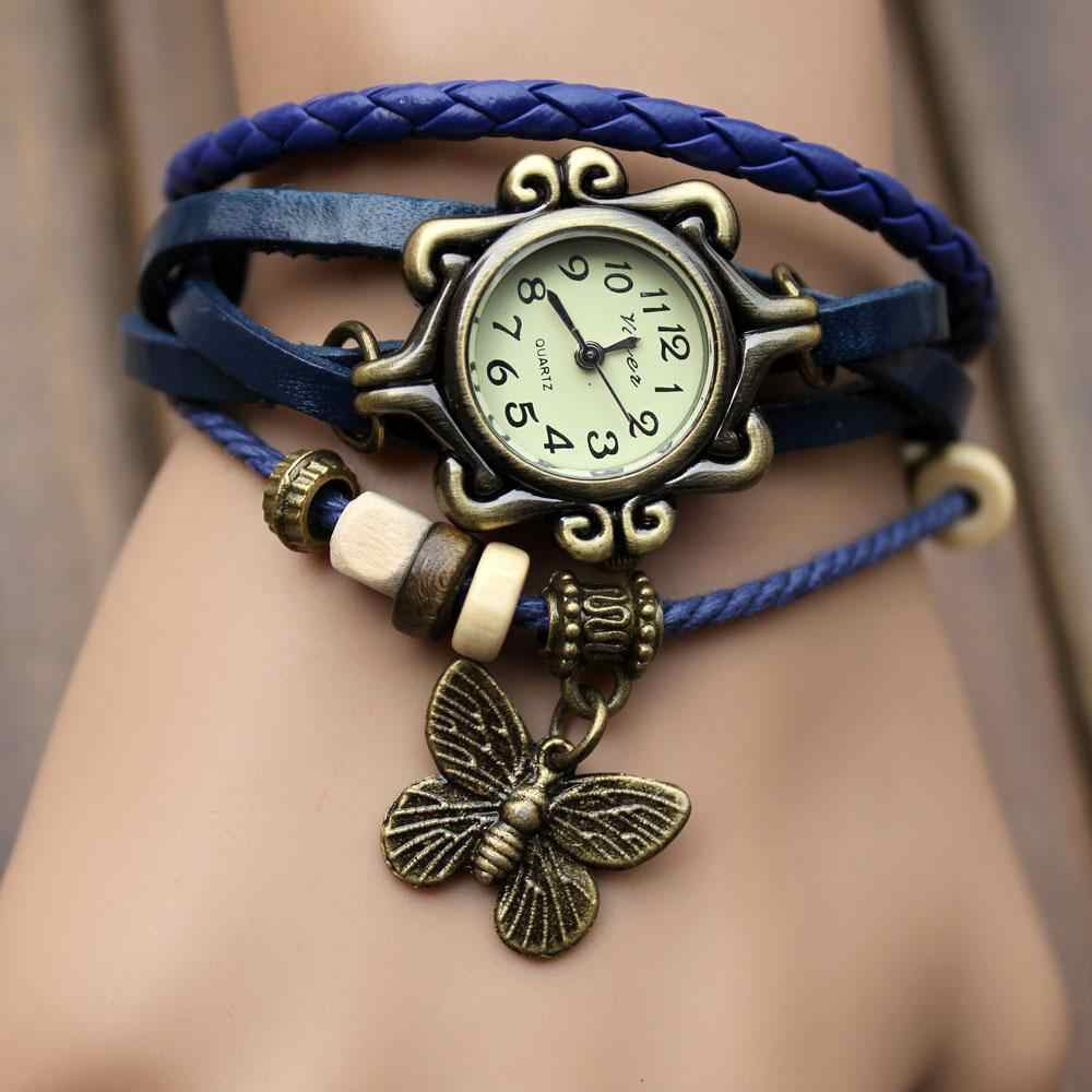 Hot Sale Women Lady Multi Colors Leather Retro Vintage Butterfly Weave Wrap High Quality  Quartz Wrist Watch Bracelet