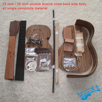 23inch/26inch DIY Ukelele Kit Ukulele Acacia Wood Back Side Body Ebony Fingerboard Set All Single Combination Color Shell Sound