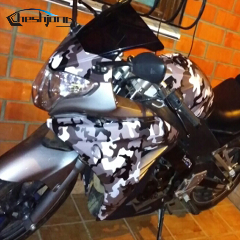 Cheshjong Grey White Black Graphic Camouflage Vinyl Snow Camo Film Car Wrap Motocycle Scooter Outboard Diy Styling Stickers