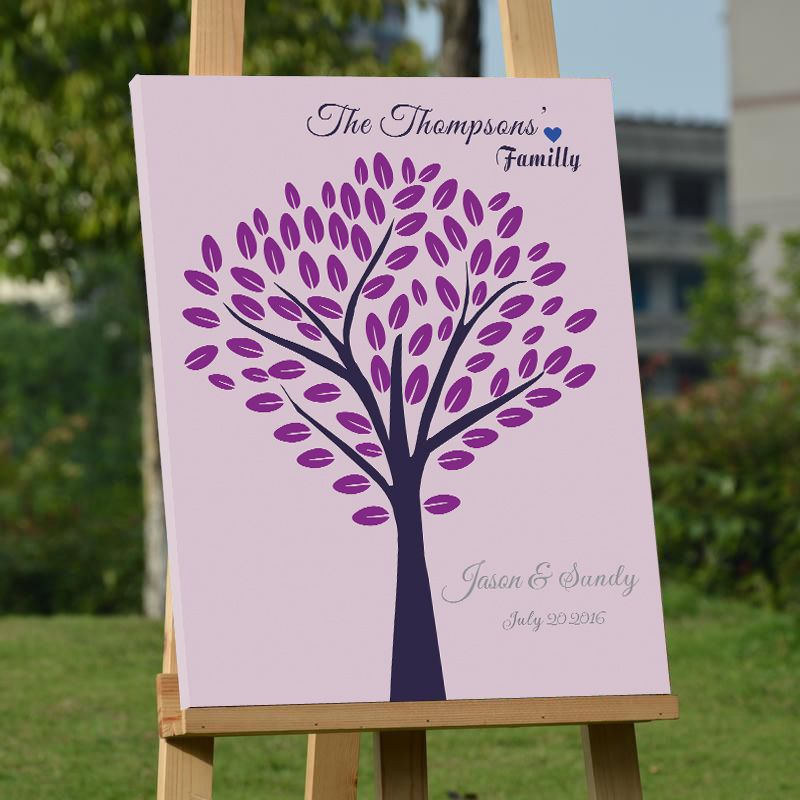 Personalized Wedding Canvas: Personalized Wedding Tree Guest Book Customized Unique