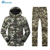 Военная форма, multicam армии softshell единые тактические брюки и куртка камуфляж охота одежда ghillie костюм для мужчин
