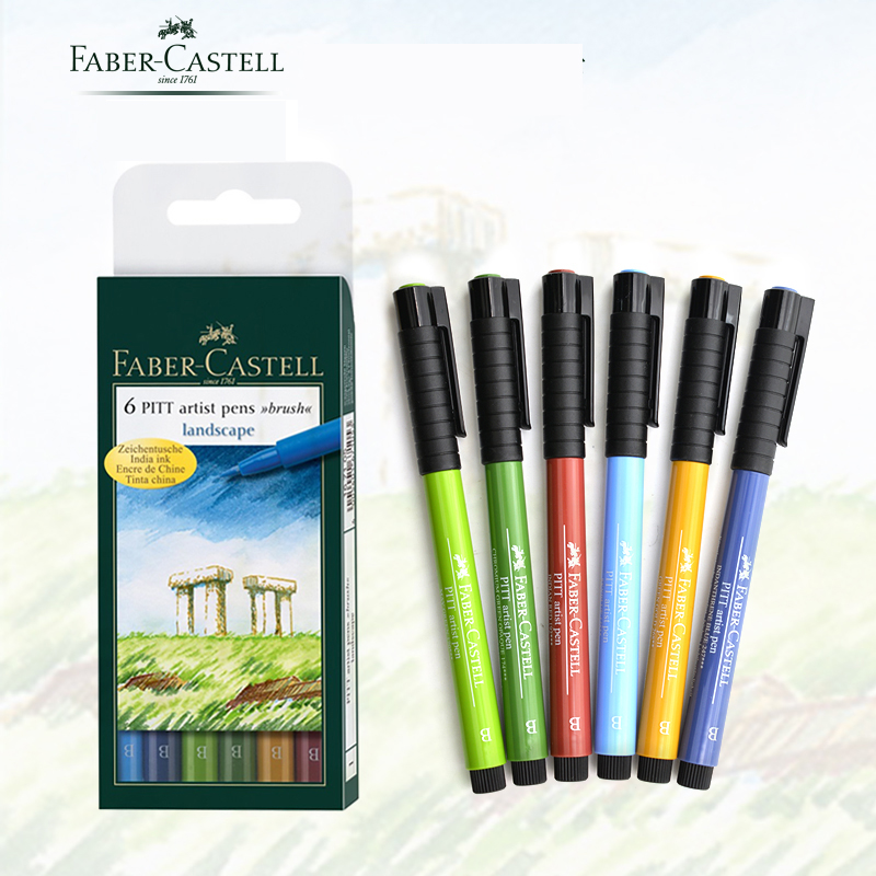 Faber Castell Pitt Artist Pen B box of 6 'landscape Design, Assorted ,Bright ' FC167105, Color Brush Pen Art Markers Wallet Set promotion touchfive 80 color art marker set fatty alcoholic dual headed artist sketch markers pen student standard
