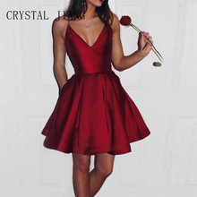 CRYSTAL JIANG Burgundy Dress A Line Sexy VNeck Spaghetti Straps Custom made Above Knee Short Homecoming Dresses Side Pockets