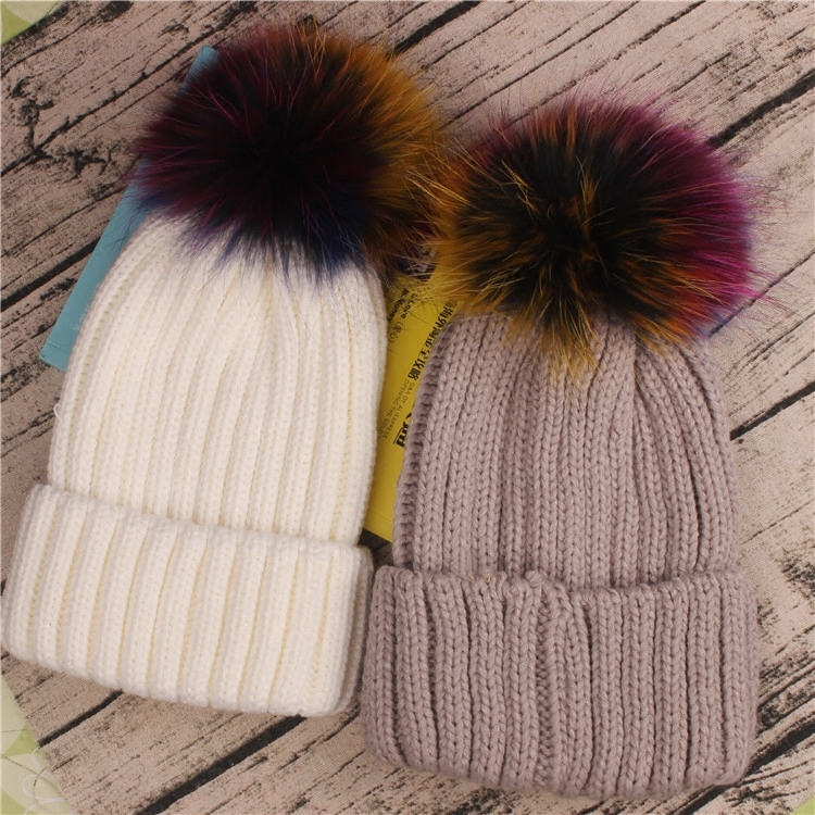 Hats for women Woman Knitting Fox Bulb Wool Super Raccoon Leather And Fur pompom Autumn And